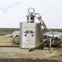 Same Sex Wedding Favour Engraved Silver Mini Hip Flask Keyring Gift