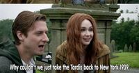 Good point but I guess what he means is that HE as the Doctor can't ever go back but everyone else can