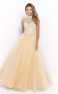 Blush 5401 Beaded High Neck Formal Ball Gown Prom Dress 2015