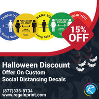 15% Halloween Discount Offer On Custom Social Distancing Decals