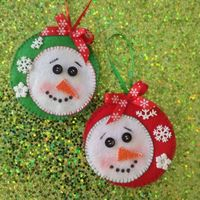 Snowmen Ornaments ( set of 2 ) Design in felt