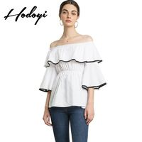 Vogue Sexy Sweet Ruffle Slimming Curvy Bateau Off-the-Shoulder Fall Frilled Blouse - Bonny YZOZO Boutique Store