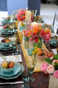 Elegant and colorful tablescape via Inspired Design Tumblr.