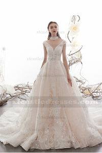 Floral Lace Tulle V Neck Wedding Dress with Long Train TB37