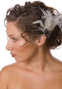 wedding hairstyles for curly hair, french tulle cage blusher
