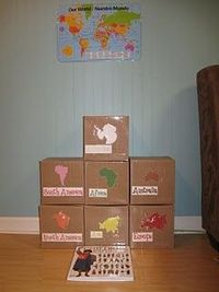 These are continents in a box. The kids explore the continent (looking through pictures of places, animals, people, etc).