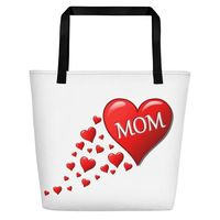 All-Over Print Love Mom large Beach Bag $35.00