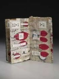 Margaret Couch Cogswell. 'Excessive Talking,' mixed media: paper bag, recycled paper, davey board, ink, shellac.