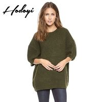 Oversized Vogue Simple Scoop Neck 3/4 Sleeves Drop Shoulder Jersey Lattice One Color Fall Sweater - Bonny YZOZO Boutique Store
