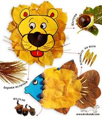 lion fish, autumn leaves and leaves.