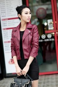 Price: $34.95 | Product: Women's PU Leather Motorcycle Zippers Long Sleeve Short Jacket | Visit our online store https://ladiesgents.ca