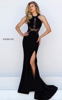 50201 Halter Lace Slit Sexy Beautiful Sherri Hill Prom Dress Outlet Blac