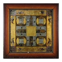 Rare, Reverse painted Parcheesi Game Board in Old Period Frame c. 1900
