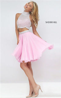 Beaded Two Piece Sherri Hill 50179 Halter 2016 Ivory/Pink Homecoming Dress