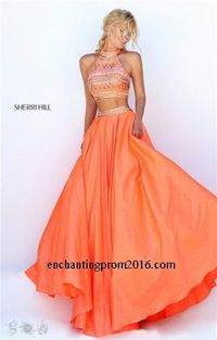 Beaded Halter Neck Sherri Hill 50310 Two Piece Prom Dresses 2016