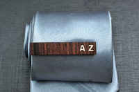 Personalized TIE CLIP - Fine Rosewood with custom bone inlay initials. $35.00