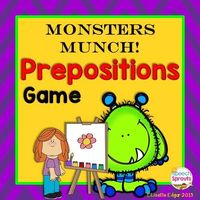 $ Monsters Munch! Speech Therapy Prepositions Game $ Monstrously fun game and printables: improves understanding of positional concepts:under/over, between/ beside, in front. #speechsprouts