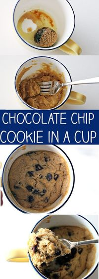 This Chocolate Chip Cookie in a Cup is still one of my favorite recipes on my blog! A fresh, homemade chocolate chip cookie that you can make in the microwave.
