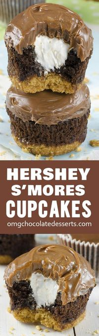 """Hershey's S'mores Cupcakes �€"""" delicious chocolate cupcakes with a graham cracker crust, filled with light and fluffy marshmallow filling and topped with milk chocolate ganache."""