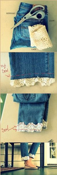 DIY Lace-cuffed jeans.