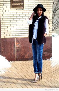 White oxford shirt and fur vest 2015