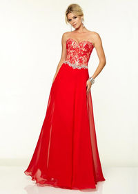 Mori Lee 97061 Lace Long Red Beaded Prom Dresses 2015