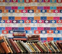 For our book lovers out there The Penguin Library paper is a collage of the front covers of iconic paper backs from the famous publishing house. Available at walnut wallpaper #wallpaper
