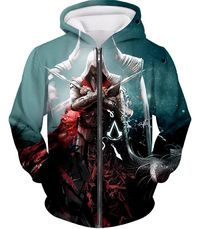 Ezio Auditore the Ultimate Assassin Cool Graphic Action Zip Up Hoodie AC013 $39.99