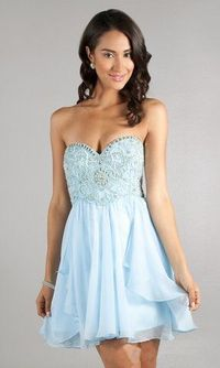2014 Ice Blue Short Strapless Sparkly Prom Dress