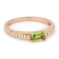0.50ct Baguette Cut Peridot & Round Diamond Promise Ring in 14k Rose Gold