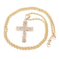 """MEN'S GOLD PLATED DOUBLE CROSS MICRO PENDANT ICED OUT IRON ROPE CHAIN 3MM 30"""" HIP HOP BLING NECKLACE Colour: Gold Material: Alloy Special Features: Gold Plated Cross Pendant Iced Out Iron Rope Chain Dimensions: Chain Length: 30 inches, Widt..."""