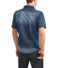 Hollywood Men's Chambray Shirt With Printed American Flag $36.99