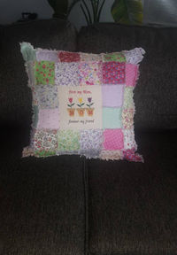 Mothers Rag Quilt-Patchwork Throw Pillow-Embroidered Patch Mother Poem-Floral Couch Throw Pillow- Sofa Accent Pillow-Gift- Handmade $45.00