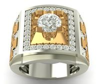 Two Tone Men's Ring Square Ring Birthday For Him Birthday Husband Gift Mens Ring Best Friend Mens Gift Boyfriend Gift For Boyfriend For Men $3770.00