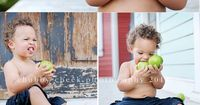 Sweet baby boy on the front porch eating apples.. maybe a way to get Damon to sit still for pictures! :)