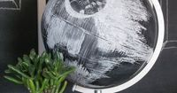 May the 4th be with you! We love this Death Star Chalkboard Globe - what a great idea! #DIY #starwars #deathstar