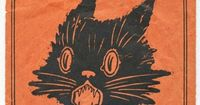 Beistle's 1920 Halloween Stickers and Envelope Black Cat Flying Witch Moon | eBay