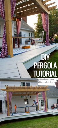 Make your backyard deck even more amazing this summer with this custom DIY pergola. Tutorial from The Heathered Nest on