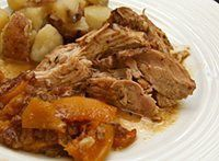 Cider makes this crock pot pork roast flavorful, and it is a super easy preparation. The pork is cooked with carrots, spices, and apple juice.