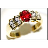 18K Yellow Gold Ruby Solitaire Diamond Wedding Ring [RS0029]