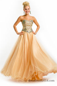 Sparkly Sequins Nude Gold Ball Gown Prom Dress PT6111