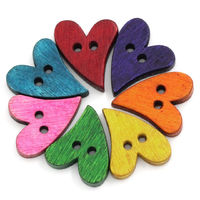Pack of 50 Assorted Colours Wooden Love Heart Buttons. 20mm x 13mm £6.99
