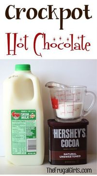 �–�5 cups Milk�–�1/2 cup Hershey's Cocoa �–�1/2 cup White Sugar�–�1 cup Hot Water �–�Combine Cocoa, Sugar, and Hot Water in large pan. Stir, and bring to gentle boil. �–�Transfer mixture to crockpot, and add milk....