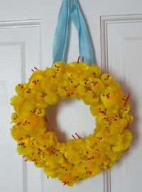 I was looking for things to do with all the chenille chicks I've accumulated over the years...easter chick wreath,really cute idea kids could make mini ones too