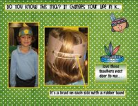 Easy way to make kid's headband stay on - rubber band and two brads!