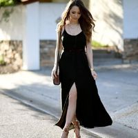 Women Button Sexy V Neck Sleeveless Maxi Long Party Dresses Summer Strap With Belt Summer Dresses Casual Loose Vestidos EY11 $38.01