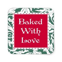 Fancy Square Baked With Love Christmas Stickers