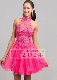 A Line Tulle Hot Pink High Neck Lace Cutout Short Dress