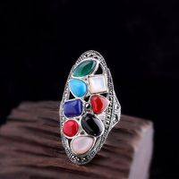 925 Silver Inlay Ring / Colorful Stone Ladies Ring / Vintage Bohemian Ring / Open Ring / Statement Rings / South Red Agate Ring / Party Ring Message Seller