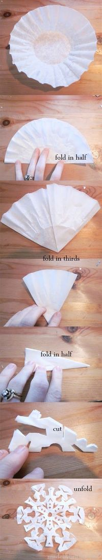 Coffee Filter Snowflakes -- I remember making paper snowflakes every winter as a kid, but never thought of using coffee filters! Might have to try these at our letter writing night for our Compassion kids!